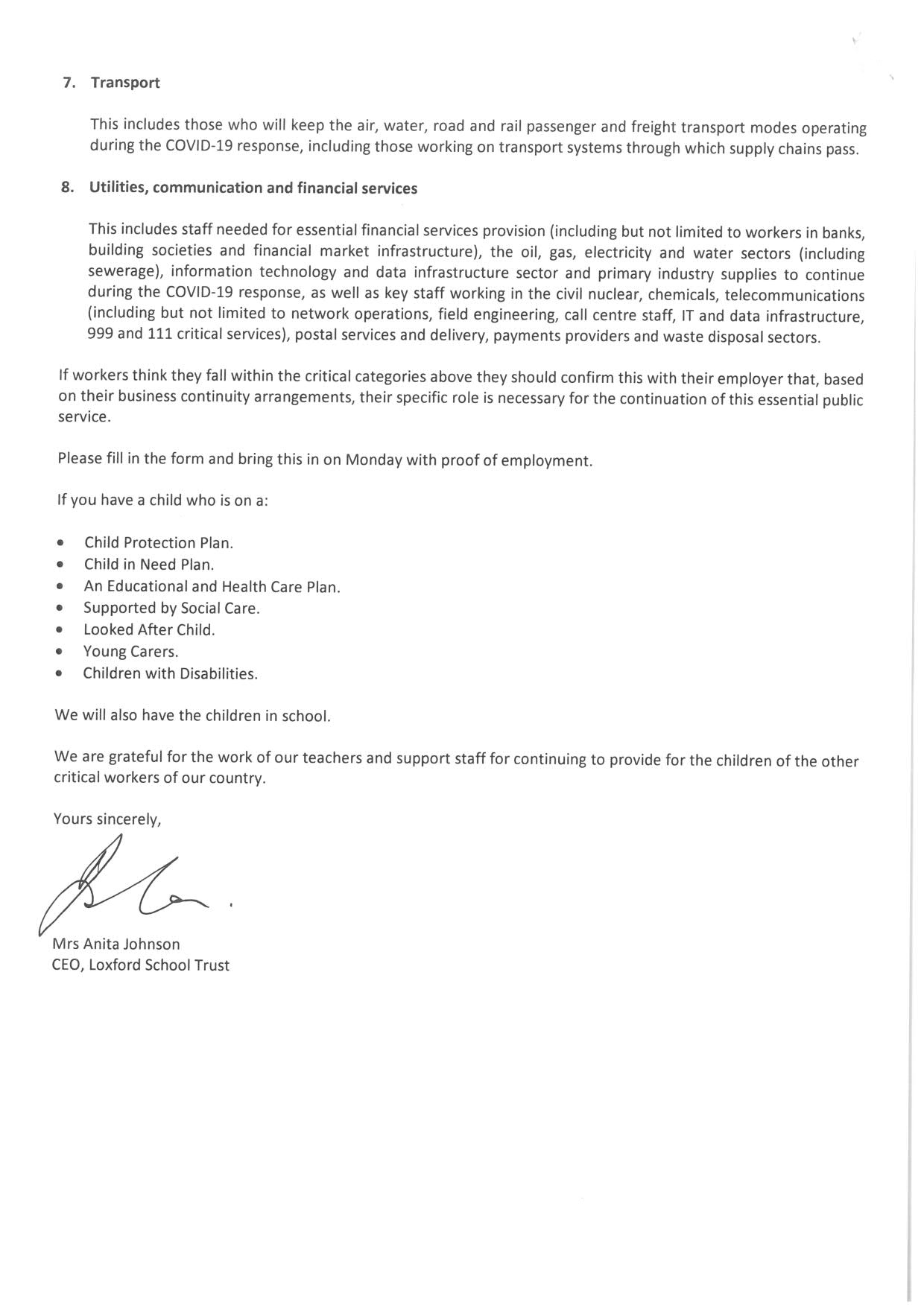KEY WORKERS LETTER 2 2